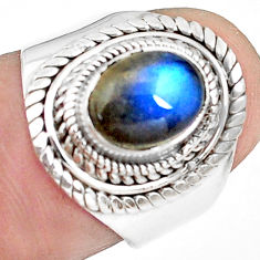 2.93cts natural blue labradorite 925 silver solitaire ring jewelry size 7 p78763