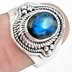 3.16cts natural blue labradorite 925 silver solitaire ring jewelry size 7 p78766