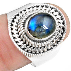 3.42cts natural blue labradorite 925 silver solitaire ring jewelry size 8 p78773