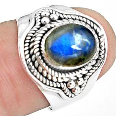 3.16cts natural blue labradorite 925 silver solitaire ring jewelry size 7 p78777