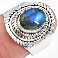 3.01cts natural blue labradorite 925 silver solitaire ring jewelry size 7 p78788