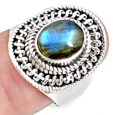 3.28cts natural blue labradorite 925 silver solitaire ring jewelry size 8 p78789