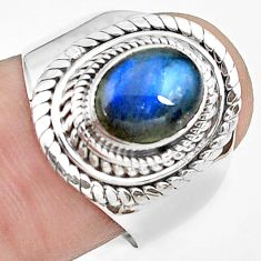 3.01cts natural blue labradorite 925 silver solitaire ring jewelry size 8 p78795