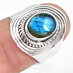 3.01cts natural blue labradorite 925 silver solitaire ring jewelry size 7 p78799