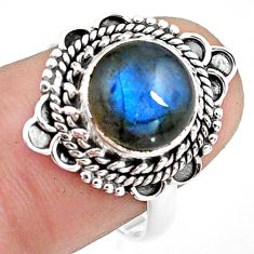 4.69cts natural blue labradorite 925 silver solitaire ring jewelry size 8 p78809