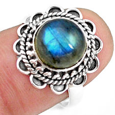 4.82cts natural blue labradorite 925 silver solitaire ring jewelry size 7 p78810
