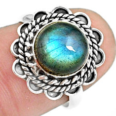 4.67cts natural blue labradorite 925 silver solitaire ring jewelry size 7 p78823