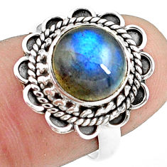 4.67cts natural blue labradorite 925 silver solitaire ring jewelry size 7 p78837