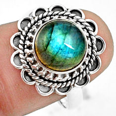4.69cts natural blue labradorite 925 silver solitaire ring jewelry size 8 p78977