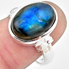 6.46cts natural blue labradorite 925 silver solitaire ring jewelry size 8 p86757