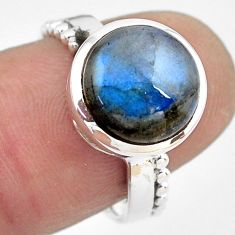 5.11cts natural blue labradorite 925 silver solitaire ring jewelry size 7 p86799