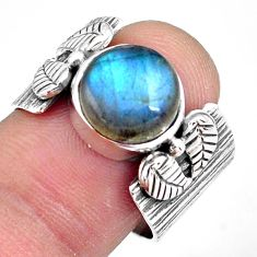 5.51cts natural blue labradorite 925 silver solitaire ring jewelry size 8 p87875