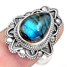 6.89cts natural blue labradorite 925 silver solitaire ring jewelry size 9 p88297