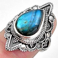 6.48cts natural blue labradorite 925 silver solitaire ring jewelry size 7 p88326