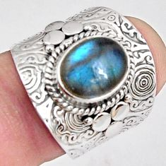 4.38cts natural blue labradorite 925 silver solitaire ring jewelry size 7 p89494