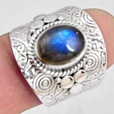 4.38cts natural blue labradorite 925 silver solitaire ring jewelry size 7 p89495