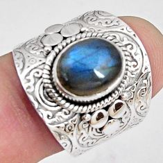 4.21cts natural blue labradorite 925 silver solitaire ring jewelry size 8 p89497