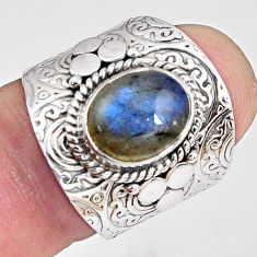 4.54cts natural blue labradorite 925 silver solitaire ring jewelry size 7 p89498