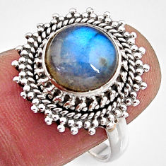 4.68cts natural blue labradorite 925 silver solitaire ring jewelry size 8 p90941