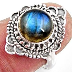 4.77cts natural blue labradorite 925 silver solitaire ring jewelry size 7 p90954