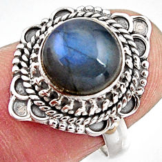 4.84cts natural blue labradorite 925 silver solitaire ring jewelry size 7 p90960