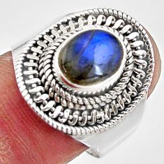 3.28cts natural blue labradorite 925 silver solitaire ring jewelry size 8 p90966