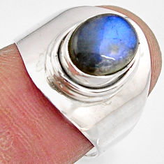 3.35cts natural blue labradorite 925 silver solitaire ring jewelry size 7 p90970