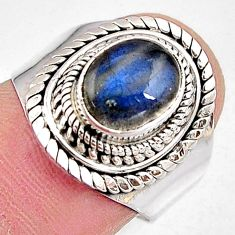3.42cts natural blue labradorite 925 silver solitaire ring jewelry size 7 p91079