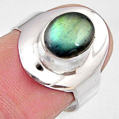 3.29cts natural blue labradorite 925 silver solitaire ring jewelry size 7 p91080