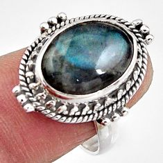 6.58cts natural blue labradorite 925 silver solitaire ring jewelry size 7 p91235