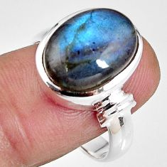 6.62cts natural blue labradorite 925 silver solitaire ring jewelry size 8 p92301
