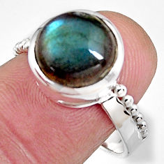5.16cts natural blue labradorite 925 silver solitaire ring jewelry size 8 p92325