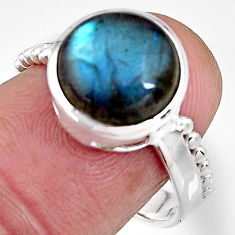 5.58cts natural blue labradorite 925 silver solitaire ring jewelry size 8 p92326