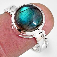 5.14cts natural blue labradorite 925 silver solitaire ring jewelry size 8 p92330