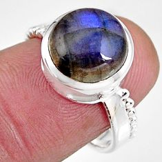 5.16cts natural blue labradorite 925 silver solitaire ring jewelry size 7 p92333