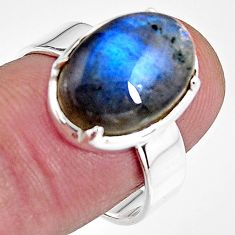 6.82cts natural blue labradorite 925 silver solitaire ring jewelry size 8 p92354