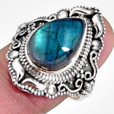 6.63cts natural blue labradorite 925 silver solitaire ring jewelry size 8 p92370