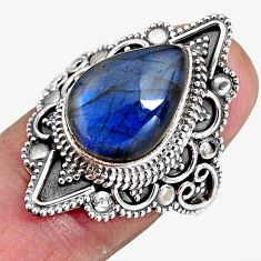 6.48cts natural blue labradorite 925 silver solitaire ring jewelry size 8 p92371