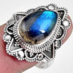 6.86cts natural blue labradorite 925 silver solitaire ring jewelry size 9 p92387