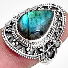 6.41cts natural blue labradorite 925 silver solitaire ring jewelry size 8 p92388