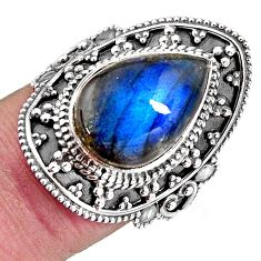 6.63cts natural blue labradorite 925 silver solitaire ring jewelry size 7 p92612