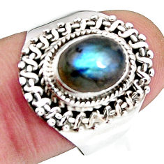 3.28cts natural blue labradorite 925 silver solitaire ring jewelry size 8 p92674