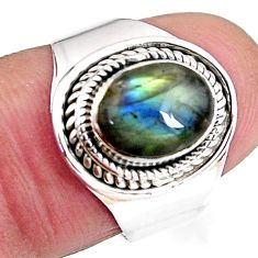 3.19cts natural blue labradorite 925 silver solitaire ring jewelry size 7 p92679
