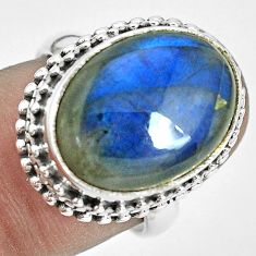 11.83cts natural blue labradorite 925 silver solitaire ring size 7 p32905