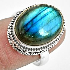 10.89cts natural blue labradorite 925 silver solitaire ring size 8 p32906