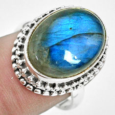 11.54cts natural blue labradorite 925 silver solitaire ring size 8 p32907