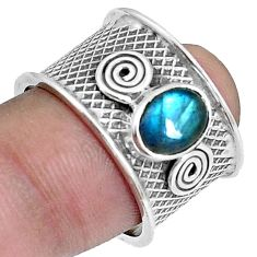 2.28cts natural blue labradorite 925 silver solitaire ring size 7.5 p37839