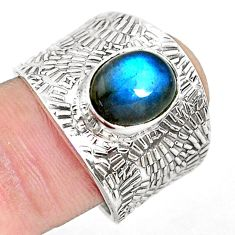 4.40cts natural blue labradorite 925 silver solitaire ring size 8.5 p51091