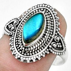 2.34cts natural blue labradorite 925 silver solitaire ring size 8.5 p53055