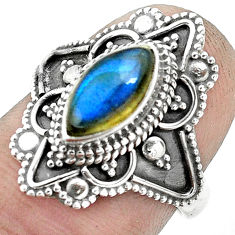 2.55cts natural blue labradorite 925 silver solitaire ring size 6.5 p53098